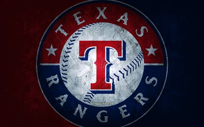 Texas Rangers, American baseball team, blue red stone background, Texas Rangers logo, MLB, baseball, USA, Texas Rangers emblem