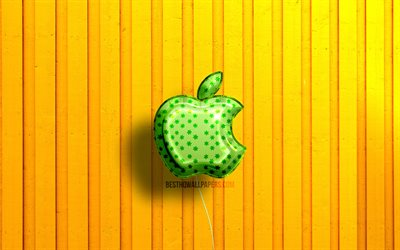 Apple 3D logo, 4K, green realistic balloons, yellow wooden backgrounds, brands, Apple logo, Apple
