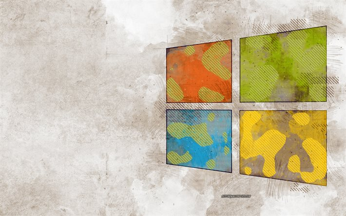 Logo grunge di Windows 10, logo di Windows, arte grunge, Windows 10, emblema, Windows, sfondo grunge