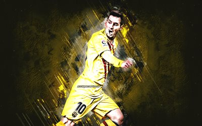 Lionel Messi, FC Barcelona, Argentine footballer, FC Barcelona yellow uniform, Leo Messi, yellow stone background, football