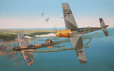 Messerschmitt Bf109, Supermarine Spitfire, World War II, fighters, bf-109, ww2, drawn planes