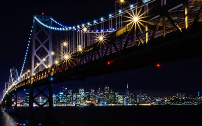 Bay Bridge, San Francisco skyline, nuit, San Francisco-Oakland Bay Bridge, San Francisco, paysage urbain, Californie, USA