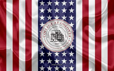 State University of New York at Oneonta Emblem, American Flag, State University of New York at Oneonta logo, Oneonta, New York, USA, State University of New York at Oneonta