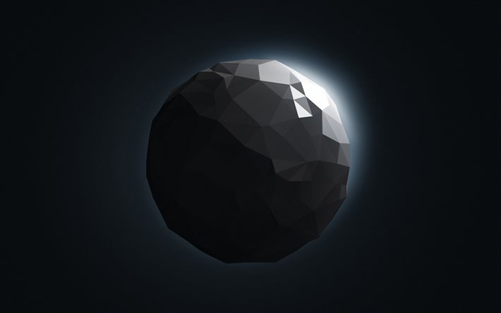 gray 3d sphere, low poly art, space object, asteroid, minimalism, spheres