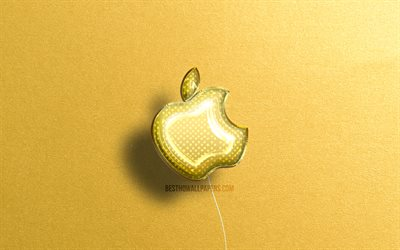Apple 3D logo, yellow realistic balloons, 4k, brands, Apple logo, yellow stone backgrounds, Apple
