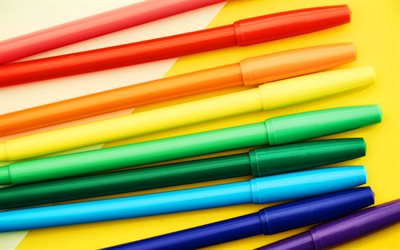 multicolored markers, 4K, macro, school supplies, drawing, art concepts, multicolored felt-tip pens