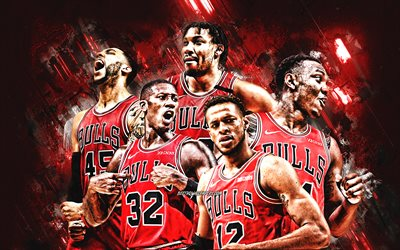 Chicago Bulls, NBA, basketball team, red stone background, basketball, Zachary LaVine, Patrick Williams, Coby White