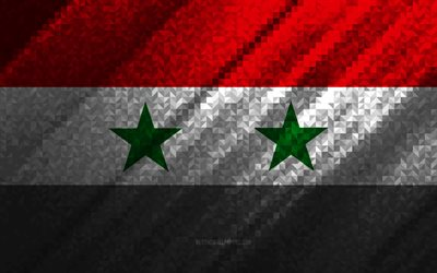 Flag of Syria, multicolored abstraction, Syria mosaic flag, Syria, mosaic art, Syria flag