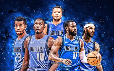 Jalen Brunson, Tim Hardaway, Dorian Finney-Smith, Trey Burke, Willie Cauley-Stein, 4k, Dallas Mavericks, basketball, NBA, Dallas Mavericks team, blue neon lights, basketball stars