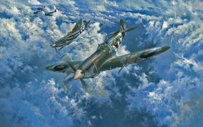 Supermarine Spitfire, British fighter, World War II, military aircraft, WW2, Royal Air Force, painted planes