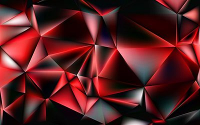red 3D low poly background, 4k, abstract art, red crystals, creative, 3D textures, geometric shapes, low poly art, geometric textures, red backgrounds