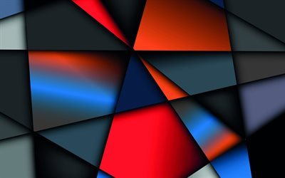 multicolored abstraction, triangles, polygons