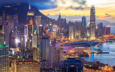 Hong Kong, city lights, sunset, skyscrapers, International Commercial Center, China