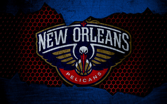 Download Wallpapers New Orleans Pelicans, 4k, Logo, NBA