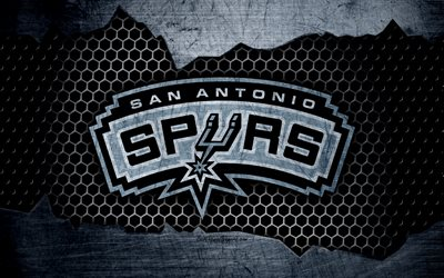 San Antonio Spurs, 4k, logo, NBA, basketball, Western Conference, USA, grunge, metal texture, Northwest Division