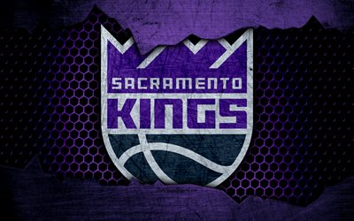 Sacramento Kings, 4k, logo, NBA, basketball, Western Conference, USA, grunge, metal texture, Northwest Division