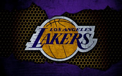 Los Angeles Lakers, 4k, logo, NBA, basketball, Western Conference, USA, grunge, LA Lakers, metal texture, Northwest Division
