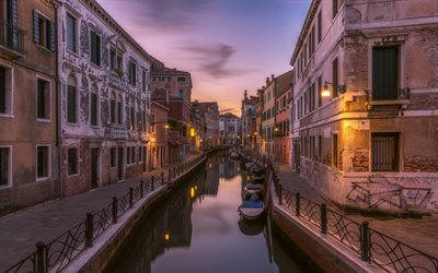 Venice, boats, canal, evening, sunset, Italy