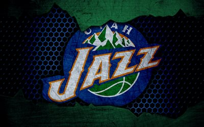 Utah Jazz, 4k, logo, NBA, basketball, Western Conference, USA, grunge, metal texture, Northwest Division