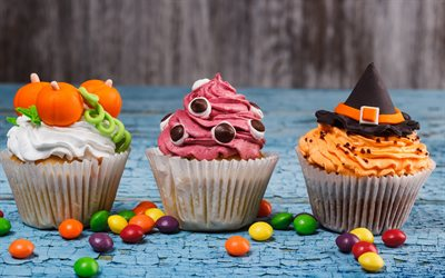Halloween, cakes, muffins, sweets, autumn holidays, cream