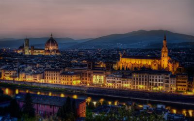 Florence, Santa Maria del Fiore, Cathedral, church, evening, sunset, city lights, Italy