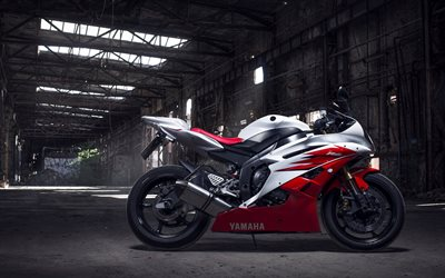 Yamaha YZF-R6, red and white sport bike, side view, japanese motorbikes, Yamaha