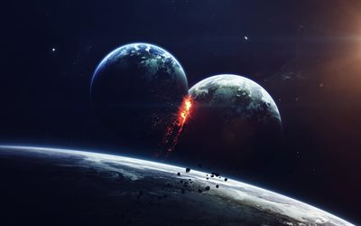collision of planets, explosion, galaxy, asteroids, science fiction, planets, catastrophe