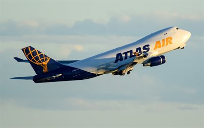 Boeing 747-400F, large passenger plane, air travel, airliner, Atlas Air, Boeing