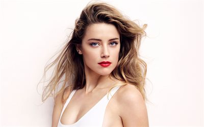 4k, Amber Heard, 2018, portrait, american actress, red lips, Hollywood, blonde, movie stars, photoshoot