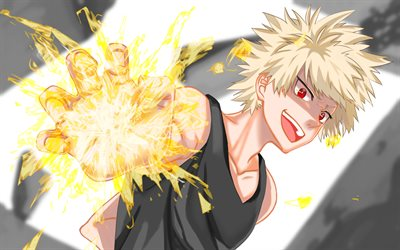 Katsuki Bakugou, red eyes, Boku no Hero Academia, magic ball, manga, My Hero Academia, artwork