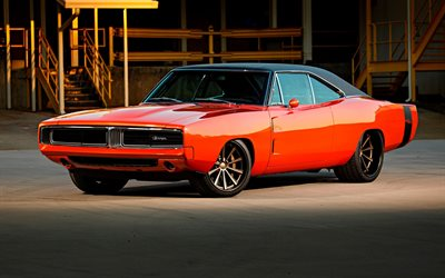 Dodge Charger, tuning, muskel bilar, 1969 bilar, retro bilar, orange Laddare, amerikanska bilar, Dodge