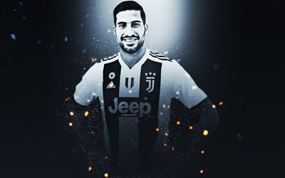Emre Can, 4k, creative art, Juventus FC, German footballer, lighting effects, Serie A, Italy, football players