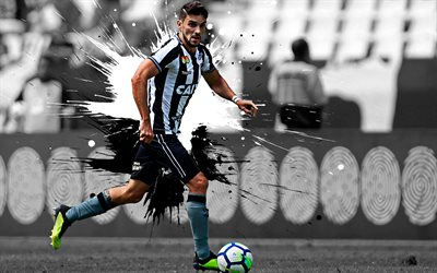 Rodrigo Pimpao, 4k, art, Botafogo, Brazilian football player, splashes of paint, forward, grunge art, creative art, Serie A, Brazil football