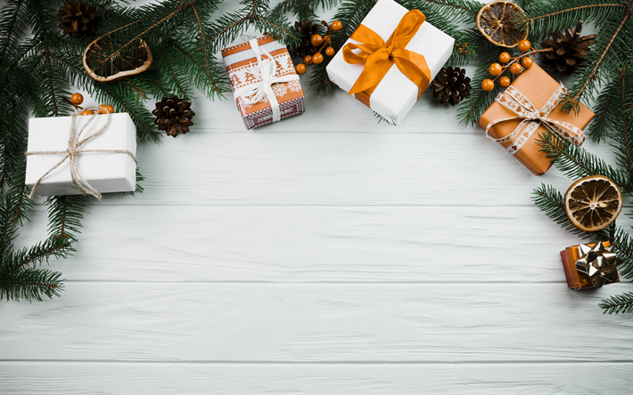 Download Wallpapers Christmas Background Green Tree Gifts