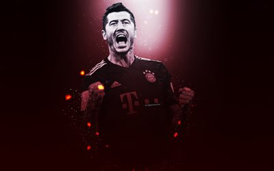 Robert Lewandowski, 4k, creative art, Bavaria Munich, Polish footballer, lighting effects, Bundesliga, Germany, football players