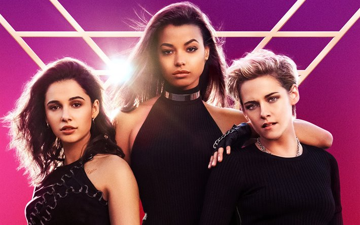 Charlies Angels, 2019, 4k, poster, promotional materials, Kristen Stewart, Naomi Scott, Elizabeth Banks, Elena Houghlin