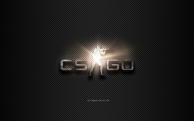 Counter-Strike Global Offensive, CS GO logo, Counter-Strike logo, black lines background, metal logo, creative art, Counter-Strike, CS GO