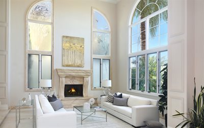 living room, modern interior design, white marble fireplace, living room project, white walls, picture for the living room