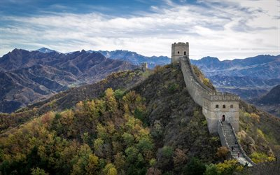 Great Wall of China, Hebei, autumn, mountain landscape, landmark, China, Jinshanling, Great Wall