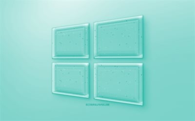 Windows 10 3D logo, Turquoise background, Turquoise Windows 10 jelly logo, Windows 10 emblem, creative 3D art, Windows