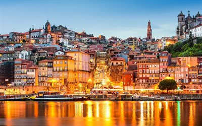 Porto, evening, bay, sunset, Porto cityscape, colorful houses, Portugal