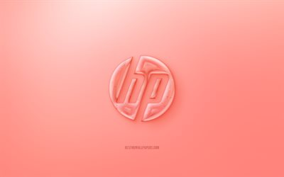 HP 3D logo, Red background, Red HP jelly logo, HP emblem, creative 3D art, Hewlett-Packard