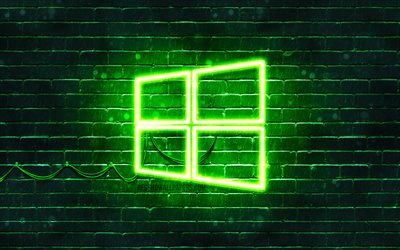 Windows 10 green logo, 4k, green brickwall, Windows 10 logo, brands, Windows 10 neon logo, Windows 10