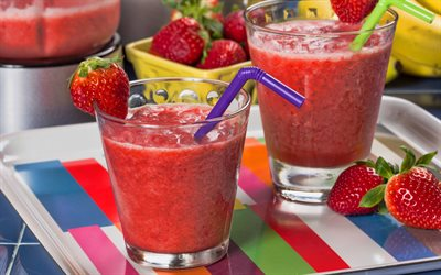 strawberry smoothies, 4k, berries, fruits, breakfast, smoothie in glassful, healthy food, smoothie glasses, strawberry, fruit smoothies, smoothies with strawberry