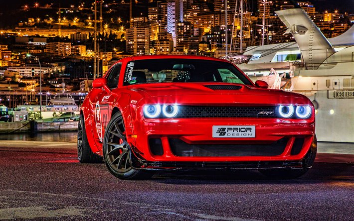 Prior Design, tuning, Dodge Challenger SRT Hellcat, 2019 cars, supercars, Red Dodge Challenger, american cars, headlights, Dodge