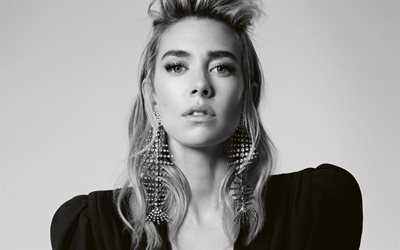 Vanessa Kirby, english actress, portrait, photoshoot, monochrome, black dress