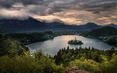 Lake Bled, evening, sunset, mountain landscape, forest, beautiful lake, landmark Slovenia, Julian Alps, Upper Carniolan region