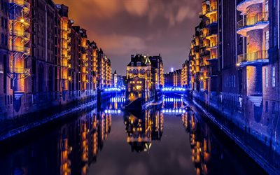 Hamburg, Wasserschloss, Speicherstadt, evening, night, city lights, Hamburg cityscape, warehouse district, Germany