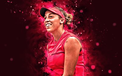 Madison Keys, 4k, american tennis pelaajia, WTA, violetti neon valot, tennis, fan art, Madison Keys 4K