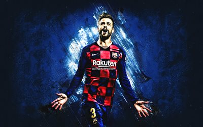 Gerard Pique, FC Barcelona, portrait, Spanish footballer, blue creative background, La Liga, Spain, Catalonia, football, Pique Barcelona